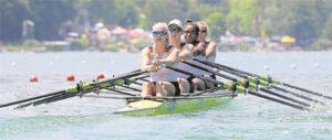 Waren auf dem Rotsee in Luzern eine Klasse für sich: (v.li.) Frieda Hämmerling, die Waltroperin Franziska Kampmann, Carlotta Nwajide und Marie Arnold.