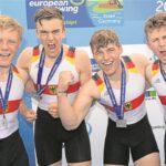 Sören Henkel (2.v.re.) vom RV Waltrop gewann gestern bei der EM mit seinen Teamkollegen (v.li.) Nils Stutz, Hermann Krüger und Paul Leerkamp (re.) Silber im Doppelvierer