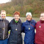 Stolz auf ihre ersten Medaillen: (v. l.) Jens Brauner, Heike Gesterkamp, Andrea Beyer und Markus Droste.