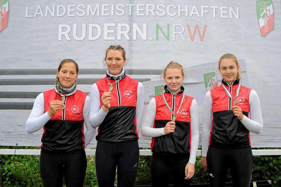 Gewannen bei den Landesmeisterschaften Bronze im Juniorinnen-A-Doppelvierer: (v.li.) Ida Polarczyk, Jette Henkel, Hannah Veuhoff und Elena Erdtmann vom Ruderverein Waltrop.