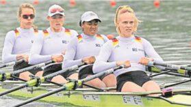 Gut in Form auf dem Rotsee: Franziska Kampmann (2. v. l.) und der deutsche Doppelvierer zeigten beim Weltcup-Rennen aufsteigende Tendenz